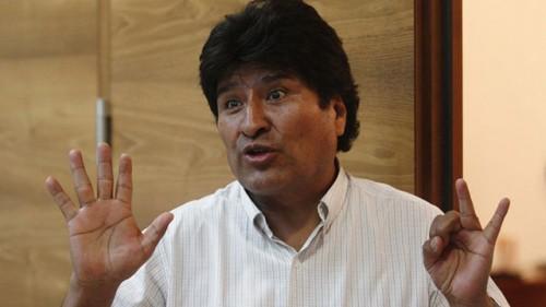 Bolivian President Evo Morales talks to the media