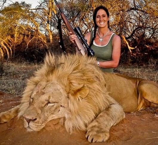 apresentadora caça leão morto