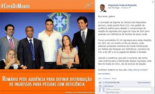 romário critica ronaldo facebook