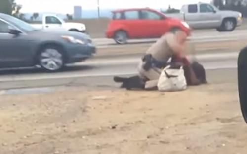 policial califórnia mulher negra espanca eua