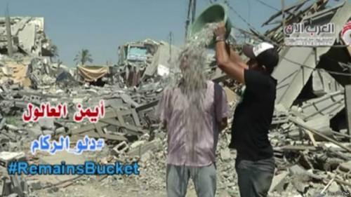 desafio balde escombros gaza