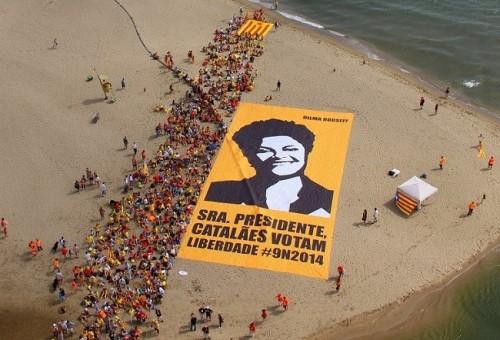 imagem dilma catalunha protesto