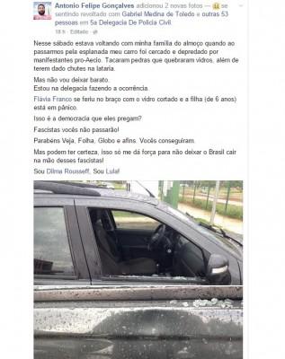 eleitor dilma carro depredado