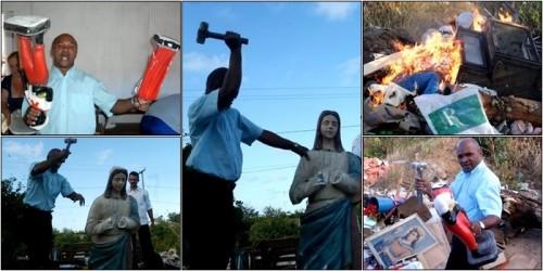 pastor religião quebra imagens santos