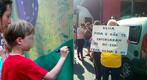 protesto dilma crianças ódio