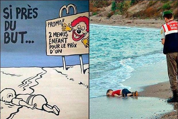 Charlie Hebdo Aylan Kurdi charge