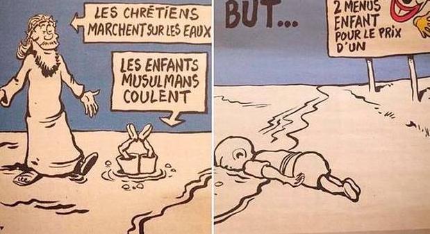 Charlie Hebdo sátira Aylan Kurdi