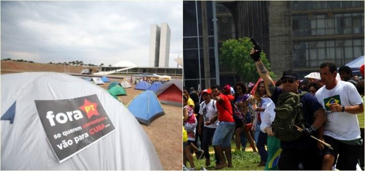 acampamento brasília armados manifestante