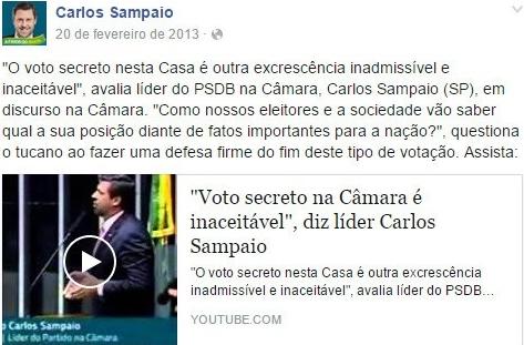 Carlos Sampaio voto secreto impeachment