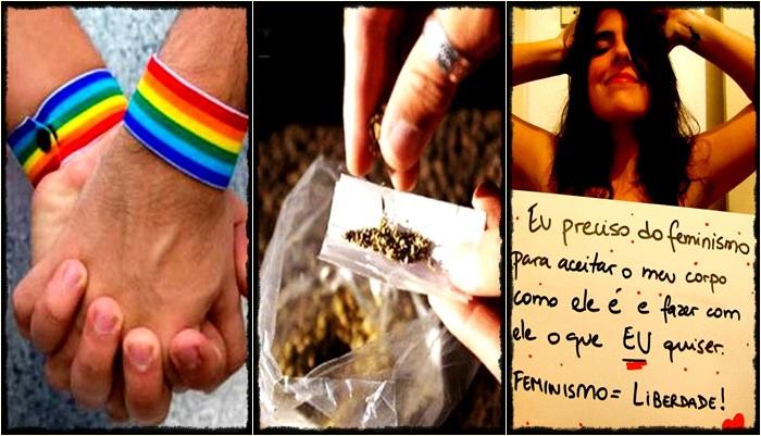 feminismo machismo maconha gay homossexualismo consumismo