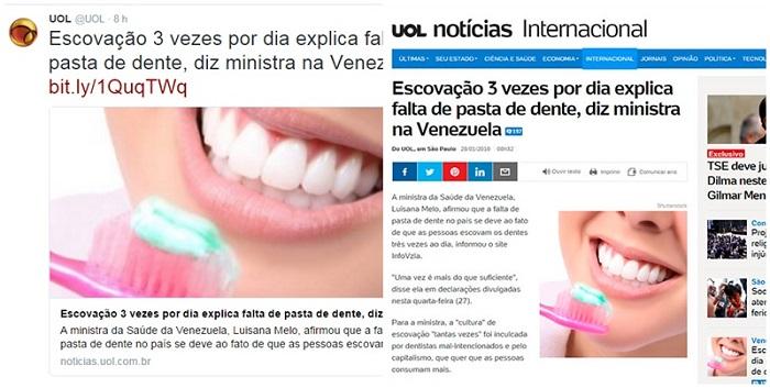 UOL barrigada venezuela falsa