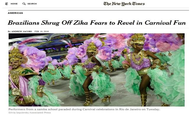 mídia internacional carnaval eua saúde zika