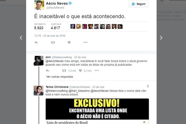 Aécio Neves tweet inaceitável
