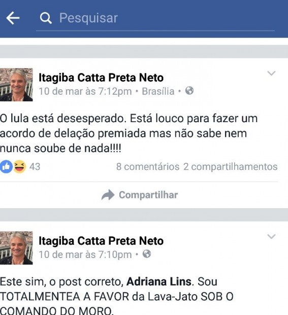 Itagiba Catta Preta Lula ministro
