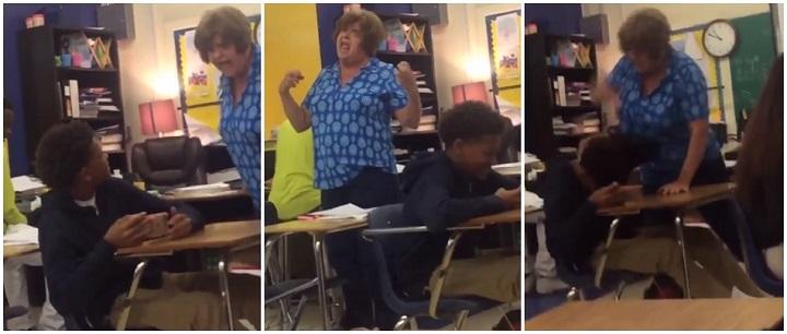 professora espanca aluno sala aula