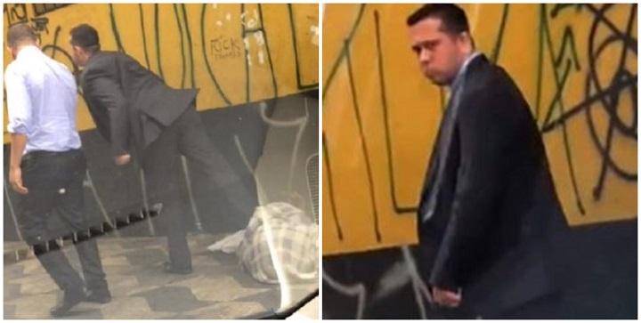 homem agride morador de rua vídeo