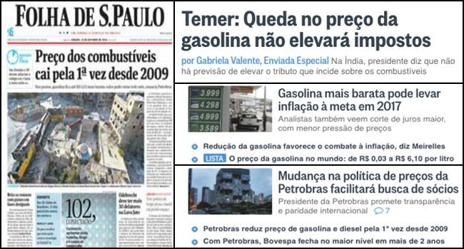 mídia carnaval petrobras diminuição gasolina