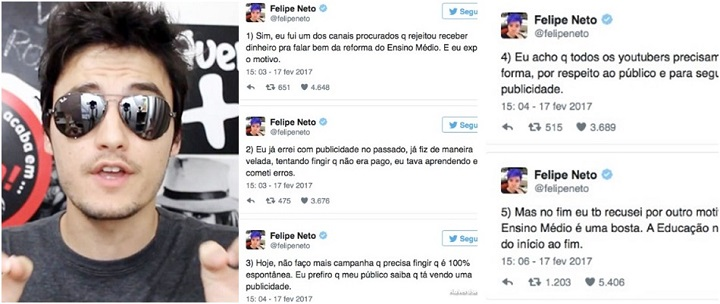 Youtuber Felipe Neto Ensino Médio