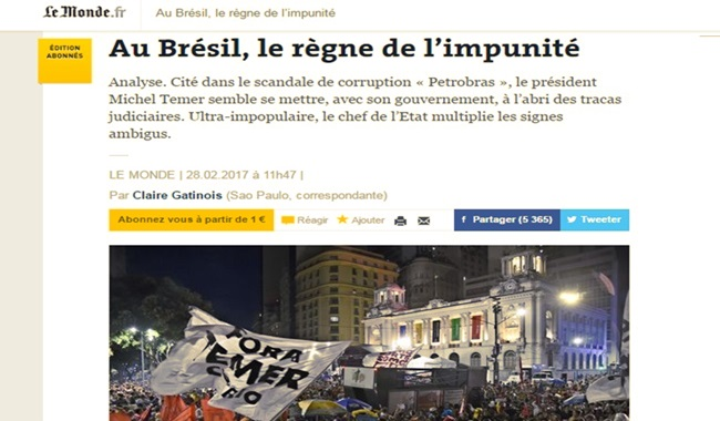 le monde brasil reino da impunidade michel temer