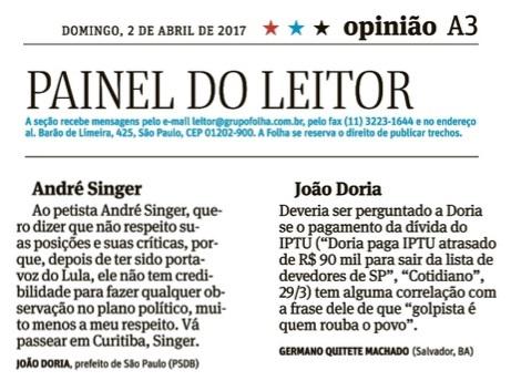andré singer joão doria prefeito