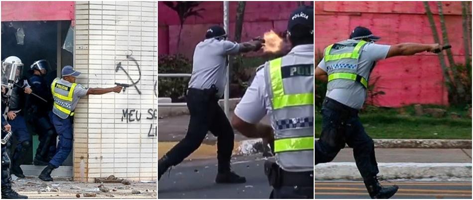 policiais armas de fogo manifestação