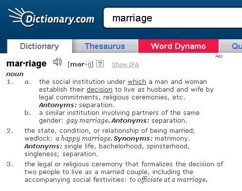 casamento gay abaixo assinado dicionário