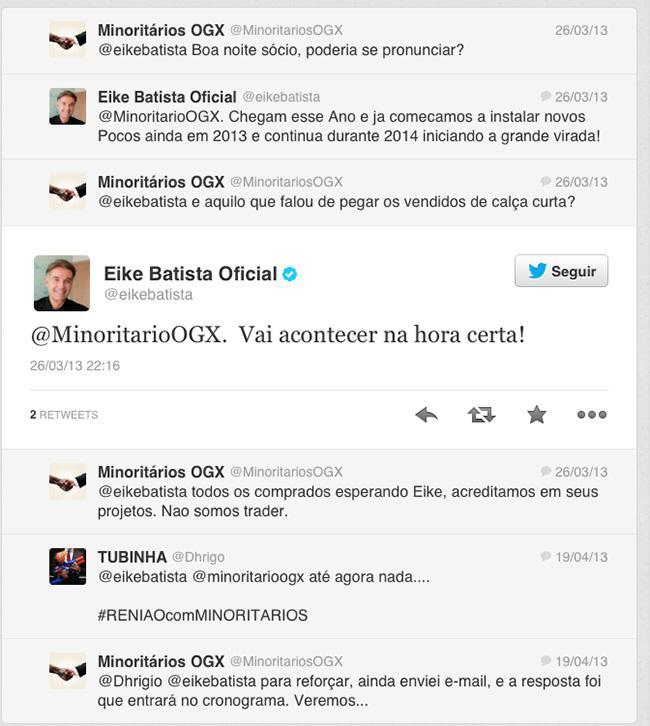 Tuitadas de Eike Batista twitter investidores