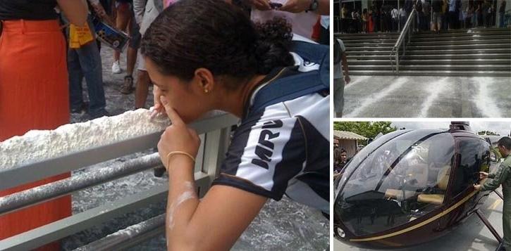 Farinhaço na Assembleia em protesto contra o caso do helicóptero da cocaína
