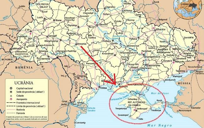 ucrânia ocorre na Crimeia Rússia mapa geografia