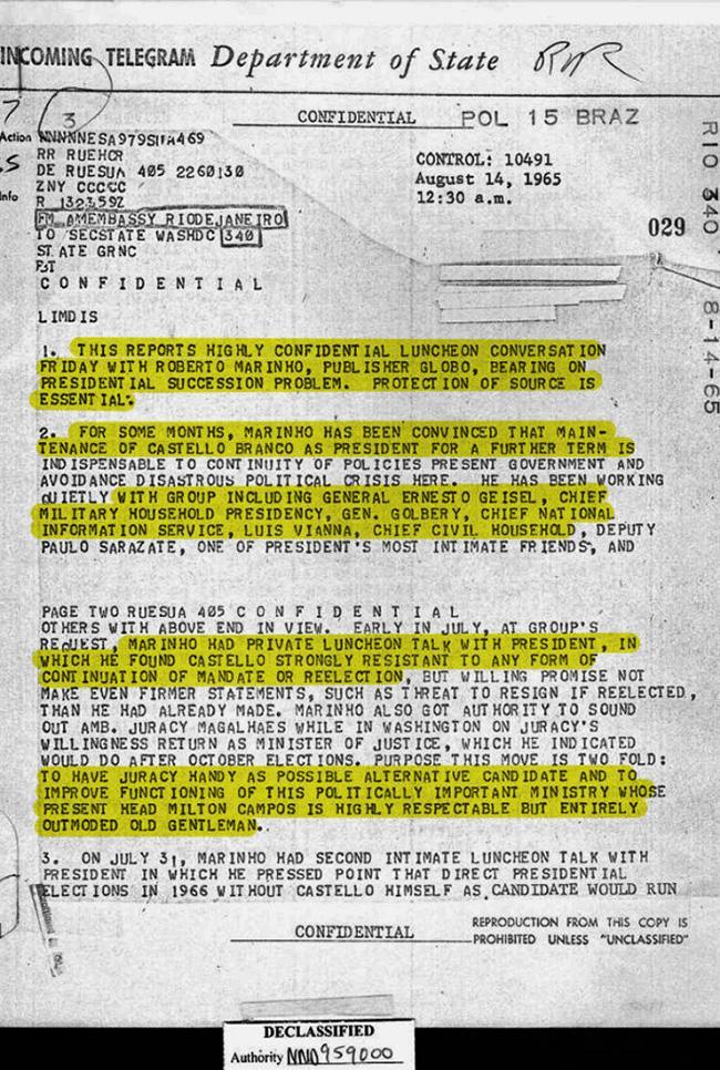 Documento secreto revela papel da Globo na ditadura