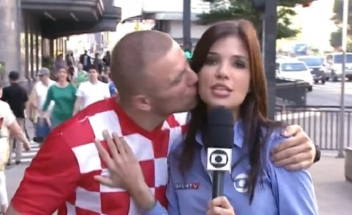 europeu beija repórter globo beijo ao vivo croata