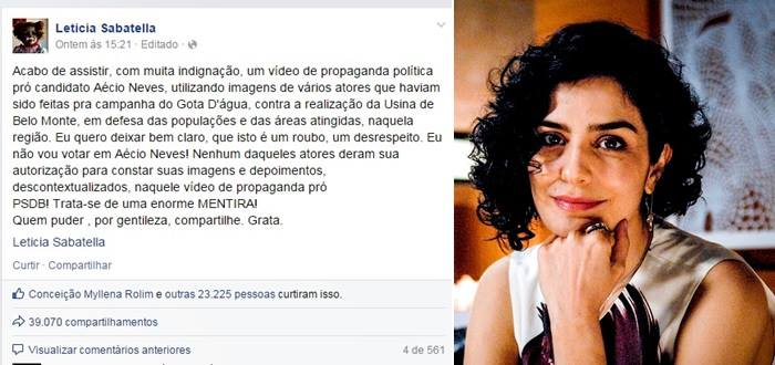 letícia sabatella aécio neves