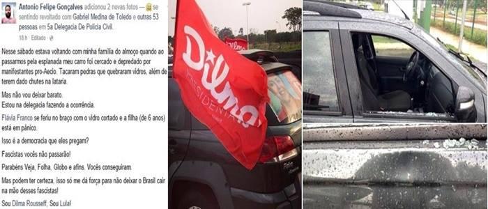 Carro com adesivos de Dilma atacado brasília