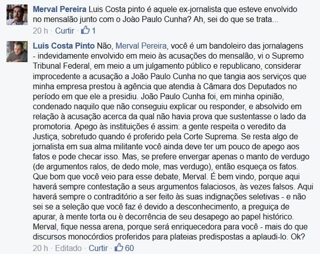 Merval Pereira reage no Facebook luís costa pinto