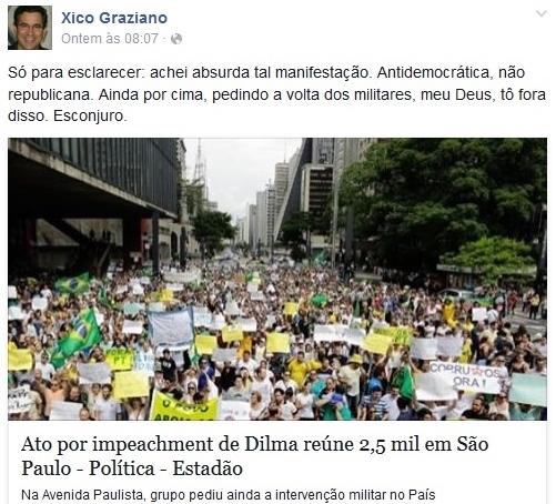 Tucano é xingado xico graziano manifestação por impeachment de Dilma