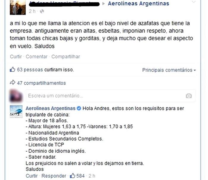 aerolíneas argentinas preconceito