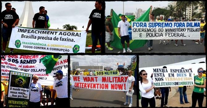 imagens manifestação direita impeachment intervenção militar golpe