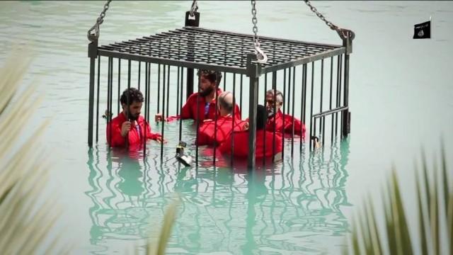 estado islâmico afoga gaiola piscina