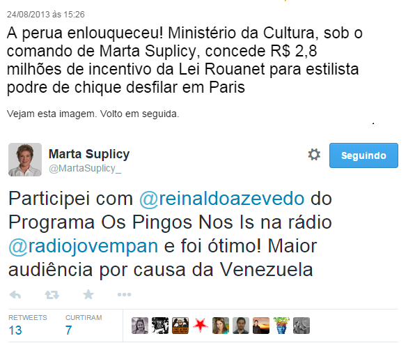 marta suplicy reinaldo azevedo perua