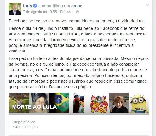 página facebook morte lula