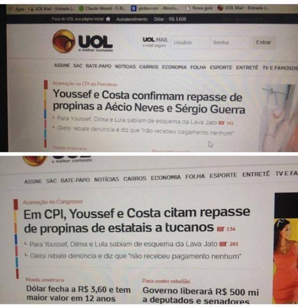 UOL Aécio Neves propina Youssef