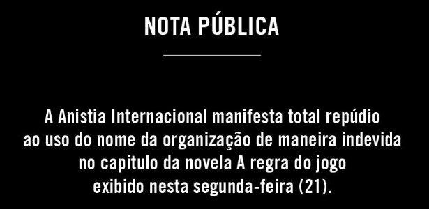 Anistia Internacional novela Globo