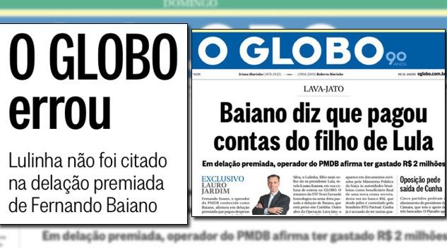 Globo filho Lula mentira falsa