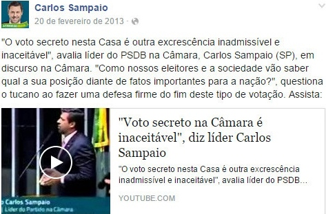 Carlos Sampaio voto secreto impeachment
