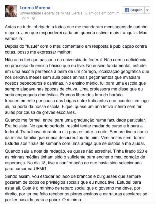 lorena comentário cotas