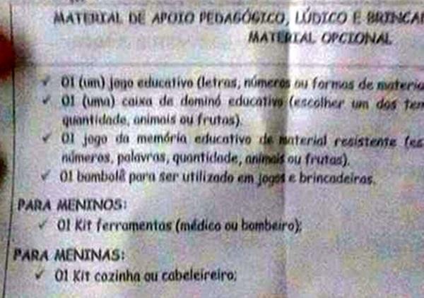 colégio machismo criticado cozinha criança brinquedo menina