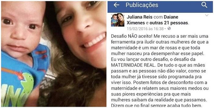 Mulher é bloqueada do Facebook Juliana desafio da maternidade