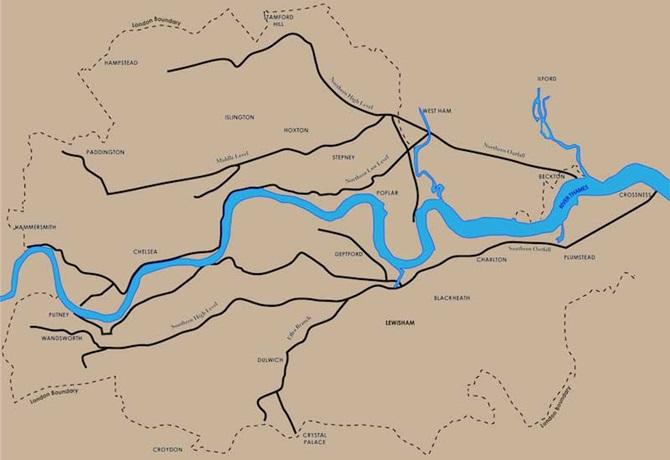Mapa da rede esgoto londres europa Bazalgette