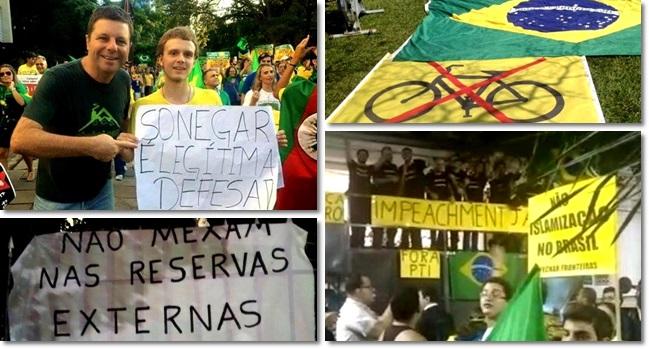 reivindicações direita manifestações impeachment sonegação bicicleta comunismo