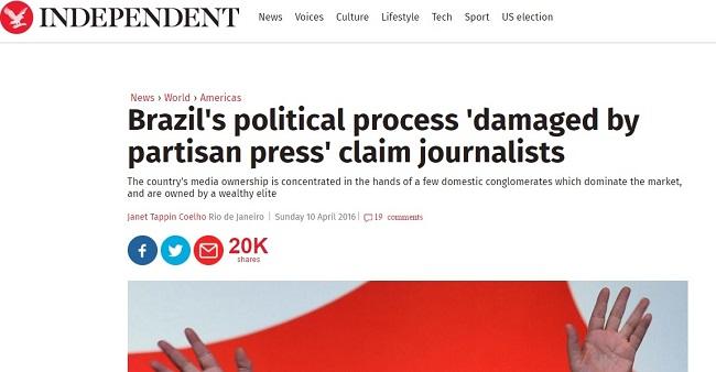 jornal britânico critica imprensa brasil globo manipulação